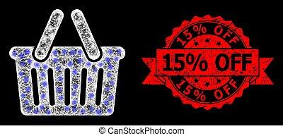 15%, cachet, clair, lightspots, timbre, réseau, panier, grunge, achats, fermé, polygonal