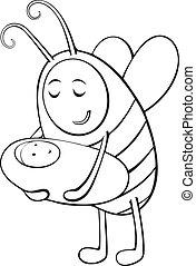1670, enfant, abeille, -, mère