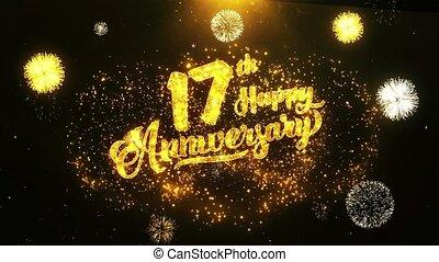 17ème, texte, salutation, anniversaire, voeux, fond, invitation, célébration, heureux