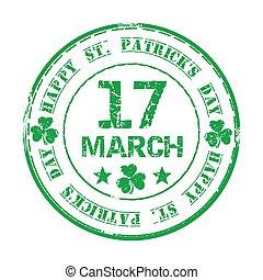 17., grunge, trèfle, timbre, texte, rue., caoutchouc, patricks, vert, mars, jour, heureux