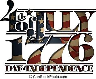 1776, doay, coupure, juillet, forth, indépendance