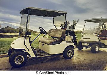18ème, golf, trou, charrettes