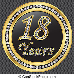 18, anniversaire, années, birthda, heureux