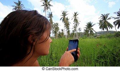 1920x1080, téléphone., koh, thailand., jungle, samui, usages, femme, hd., mobile, jeune