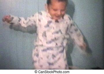 (1965), garçon, peu, sauter, lit