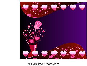 2, champagne, fond, valentin