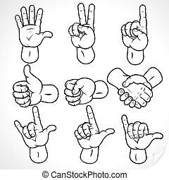 2, contour, mains
