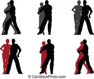 2, couple, vecteur, -, tango