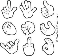 #2, dessin animé, mains