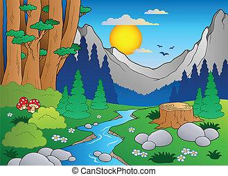 2, dessin animé, paysage, forêt