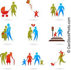 2, -, famille, icônes
