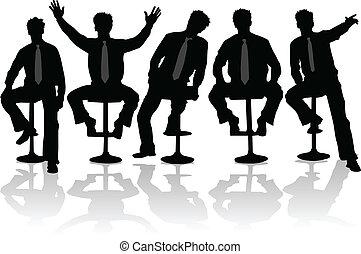 2, homme affaires, silhouettes, noir