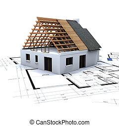 2, maison, modèles, construction
