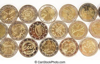 2, pièces, euro