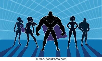 2, superhero, animation, équipe