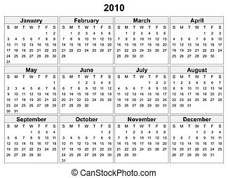 2010, calendrier, year.