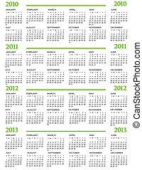 2011, calendrier, 2012, 2013, 2010