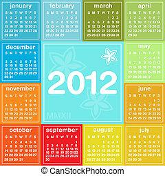 2012, calendrier