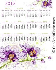 2012, calendrier, conception
