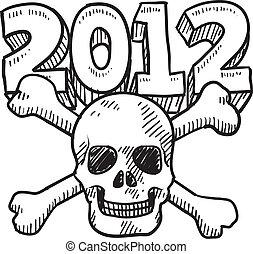 2012, revoir, croquis, apocalypse