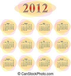 2012, vecteur, calendrier