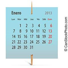 2013, janvier, calendrier, espagnol