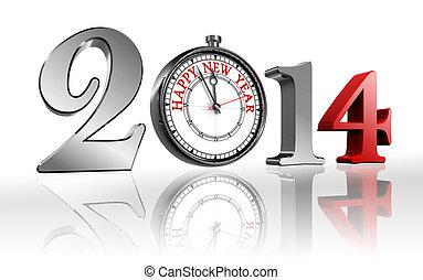 2014, année, heureux, horloge, nouveau