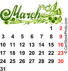 2014, calendrier, mars