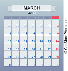 2014, calendrier, monthly., mars, horaire