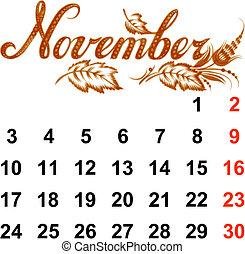 2014, calendrier, novembre