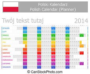 2014, calendrier, planificateur, polonais