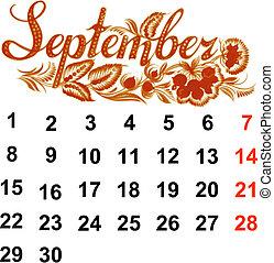 2014, calendrier, septembre