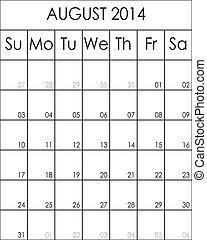 2014, costumizable, fichier, grand, août, eps, planificateur, calendrier