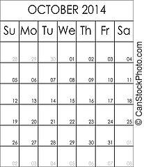 2014, costumizable, fichier, grand, eps, planificateur, calendrier, octobre