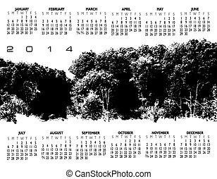 2014, créatif, paysage, calendrier