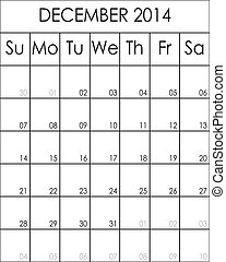 2014, décembre, costumizable, fichier, grand, eps, planificateur, calendrier