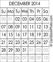 2014, décembre, fichier, grand, eps, planificateur, calendrier