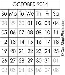 2014, fichier, grand, eps, planificateur, calendrier, octobre