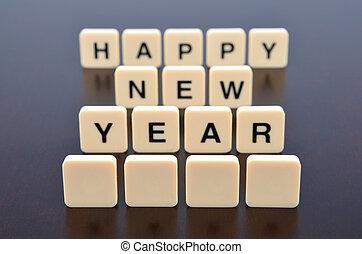 2014, formé, heureux, peu profond, nouveau, mot, pointu, morceaux, lettre, dof, foyer, année, devant