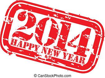 2014, grunge, heureux, nouveau, s, caoutchouc, année