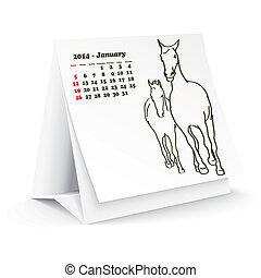 2014, janvier, cheval, calendrier, bureau