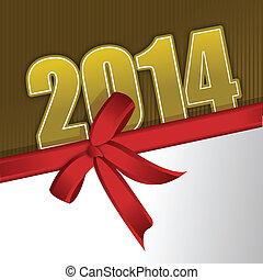 2014, nouveau, carte voeux, année