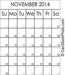2014, novembre, costumizable, fichier, grand, eps, planificateur, calendrier