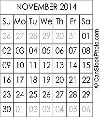 2014, novembre, fichier, grand, eps, planificateur, calendrier