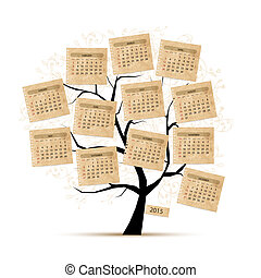 2015, conception, calendrier, arbre, ton