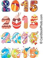 2015, fête, enfants, nombres