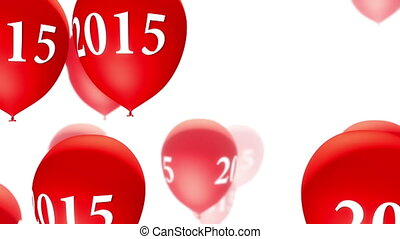 2015, (loop), blanc, ballons, rouges