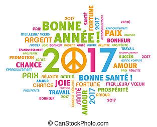 2017, carte, salutation, paix
