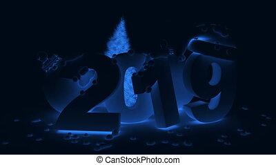 2019, balle, arbre, noël