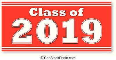 2019, bannière, classe, rouges